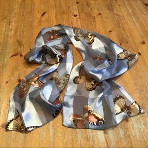 🍄VINTAGE 80's butterfly chiffon&satin long scarf